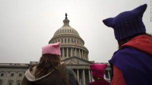 Cat hats worn at Trump protest