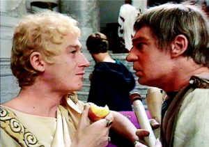 John Hurt as Caligula left, in 'I Claudius'