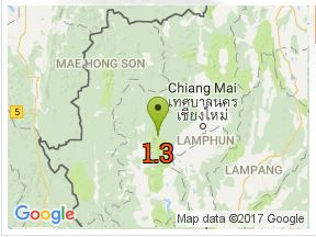 Map showing small quakes in Northern Thailand
