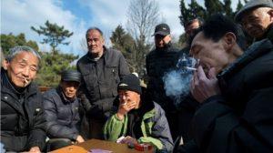 Elderly men smoking