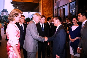 Han Show owner Wang Jialin greets the Belgian Royal couple