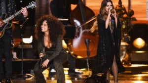 Maren Morris, at right with Alicia Keys performing at Grammys 2017