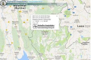 Quake map of Northern Thailand