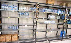 Almost empty supermarket shelves in Queensland