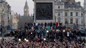 Candle-lit vigil at Trafalgar Square for attack victims