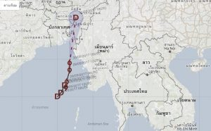 Cyclone Mora path