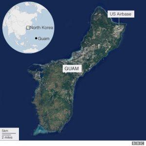 North Korea Guam map